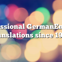 Professional GermanEnglish translations since 1995