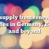 The supply from renewable energies in Germany, Europe and beyond